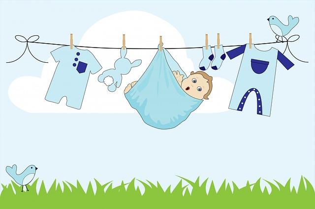 miminko, oblčení, šňůra na prádlo, ptáčci