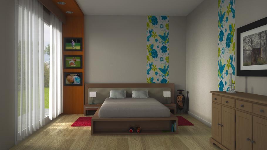 vinylová podlaha v ložnici